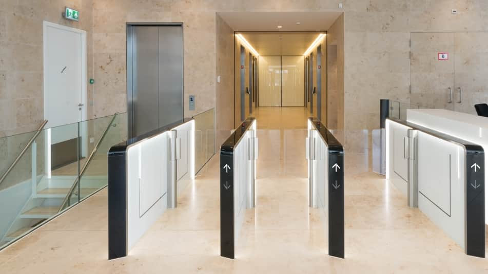KONE Turnstile 30 is a good solution for busy environments where high throughput is required.