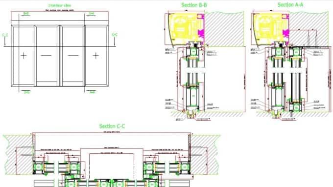 Door CAD Blocks, Details and Drawings for All KONE doors Pocket Door Dwg on